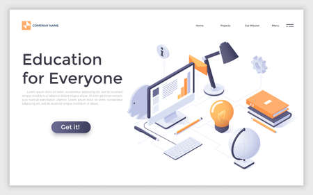 Landing page with students workplace, computer and place for text. Distant and online learning, internet education. Creative design template. Isometric vector illustration for educational website.