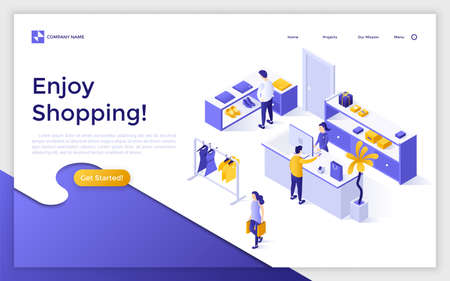 Landing page with people or customers buying clothes in apparel store or boutique and place for text. Fashion retail and shopping. Creative isometric vector illustration for advertisement, promotion. Zdjęcie Seryjne