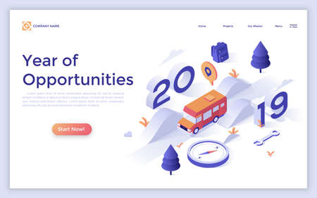 Landing page with van riding along highway and place for text. Year of opportunities in adventure travel, automobile tourism, road trips. Isometric vector illustration for touristic service website.