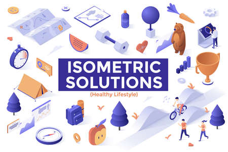 Set of isometric elements isolated on white background - sports, healthy lifestyle, cardio training, fitness workout, hiking, backpacking, adventure tourism and travel. Creative vector illustration.