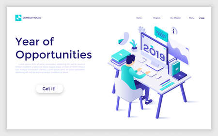 Landing page with student sitting at computer with 2019 number on screen and studying. Year of opportunities in distant education, online learning, internet courses. Isometric vector illustration.