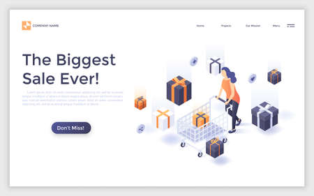 Landing page with woman or customer with shopping cart, falling gift boxes and place for text. Internet sale, online discount. Modern isometric vector illustration for advertisement, promotion. Zdjęcie Seryjne
