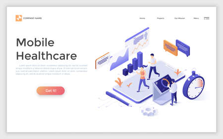 Landing page with people running or jogging on giant smartphone and man monitoring health indicators. Concept of mobile healthcare. Isometric vector illustration for fitness application advertisement. Zdjęcie Seryjne