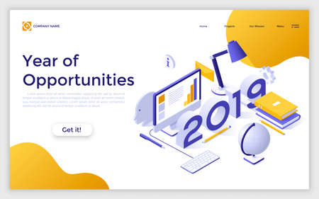 Web page with 2019 number, computer, globe, books and place for text. Concept of year of opportunities for work on personal project. Infographic design template. Isometric vector illustration.