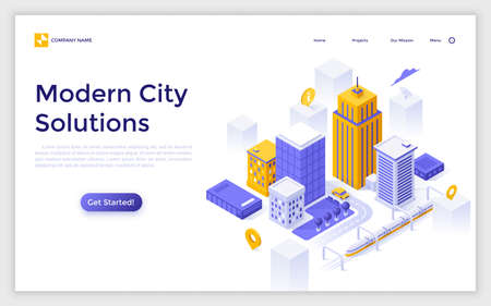 Landing page with downtown buildings and streets, map pins and place for text. Modern city solutions, urban development. Isometric vector illustration for website, navigation service advertisement.