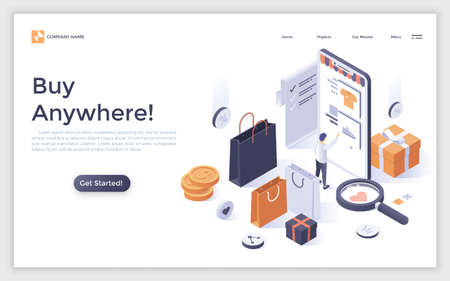 Modern landing page with buyer standing in front of giant smartphone and buying goods on internet store. Mobile shopping and online retail. Isometric vector illustration for advertisement, promotion.