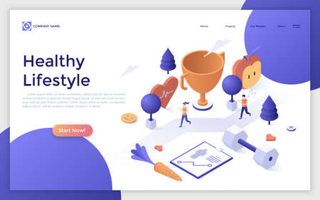 Web page with man and woman running marathon or jogging, giant dumbbell, champion cup. Active lifestyle, wholesome nutrition and sports. Creative design template. Isometric vector illustration