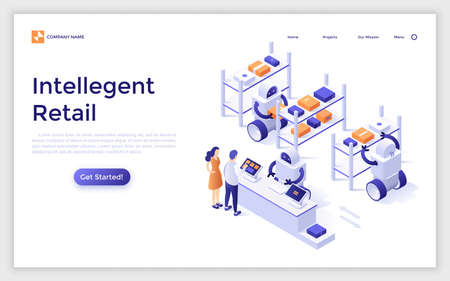 Landing page with customers standing at counter and robots working at warehouse. Concept of intelligent retail, online store with robotic fulfillment system. modern isometric vector illustration.