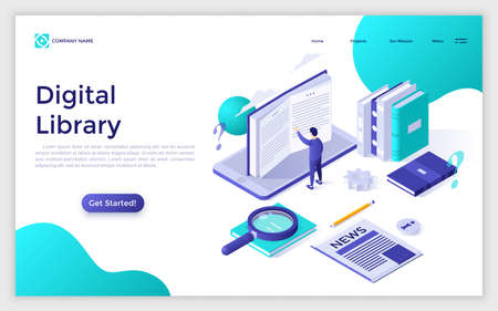 Website with male character touching giant book standing on smartphone screen and place for text. Digital library, mobile app for reading. Modern design template. Isometric vector illustration.
