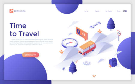 Landing page with camper van riding along highway and place for text. Adventure travel, automobile tourism, road trip. Isometric vector illustration for touristic service website, advertisement.