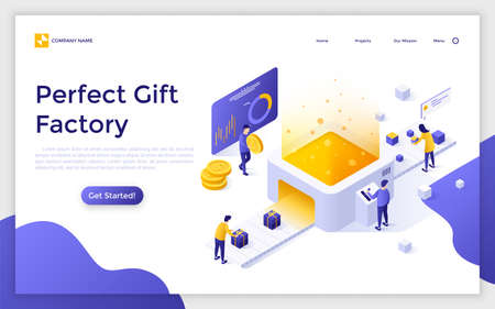 Landing page with people working on belt conveyor and place for text. Concept of perfect gift factory. Creative isometric vector illustration for advertisement or promotion of online service, website.