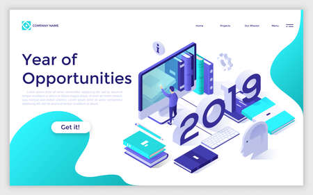 Web banner with 2019 number, man touching giant computer screen, books, planners. Year of opportunities in work organization and planning. Modern design template. Isometric vector illustration. Zdjęcie Seryjne