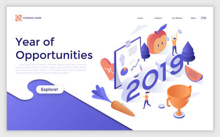 Web banner with 2019 number, man with barbell, jogging woman, golden champion cup. Year of opportunities in healthy lifestyle, sports activities. Modern design template. Isometric vector illustration.