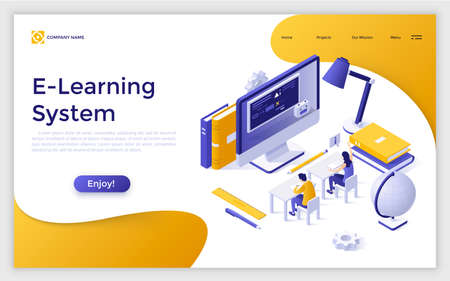 Web banner with people or students sitting at desks in front of giant computer screen and studying. Opportunities in distance learning and e-learning system. Colorful isometric vector illustration.