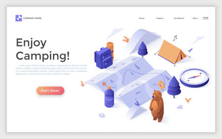 Modern landing page with map, touristic equipment, tent, cjmpass and place for text. Camping, hiking, backpacking, tourism and bushcraft. Isometric vector illustration foe advertisement, promotion