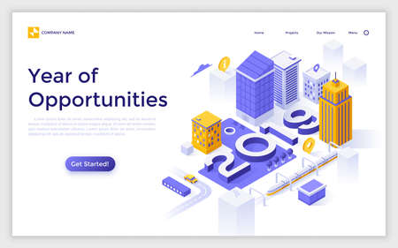 Landing page with 2019 number buildings, streets, location marks and place for text. Year of opportunities for city development and urban planning. Creative isometric vector illustration for website.