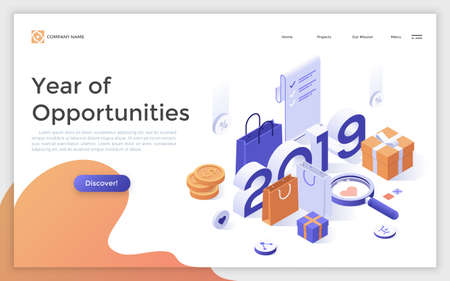 Creative web page with 2019 year number, paper bags, gift boxes, money coins. Year of opportunities for shopping, retail, trade. Modern vector illustration for internet advertisement, promotion.