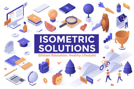 Collection of modern isometric elements isolated on white background - distant education, online learning, internet courses, sports, healthy lifestyle and nutrition. Vector illustration for banner.