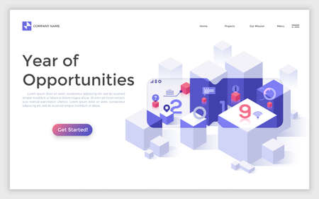 Landing page with blocks or cubes seen with VR software and place for text. Creative isometric vector illustration for virtual or augmented reality online service advertisement, internet promotion.