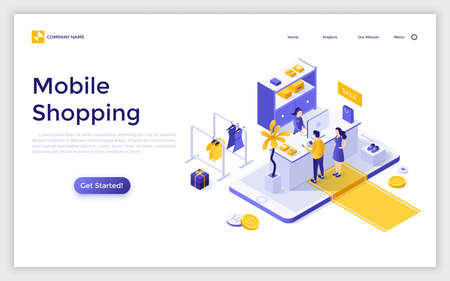 Landing page with giant smartphone, people buying goods online and place for text. Mobile shopping. Modern isometric vector illustration for advertisement, promotion of application for internet store.