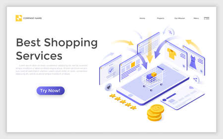Landing page with smartphone and cart with purchases surrounded by online store pages. Creative isometric vector illustration for best shopping services advertisement, internet retail promotion. Zdjęcie Seryjne