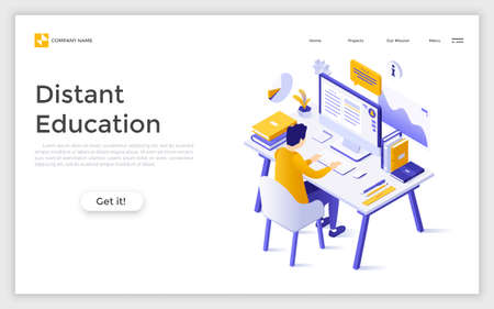 Landing page with man sitting at computer and studying and place for text. Distant education, internet courses, online learning. Isometric vector illustration for service advertisement, promotion.
