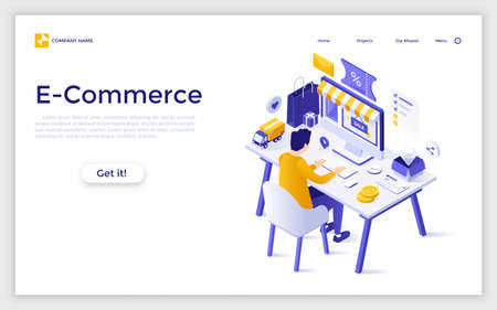 Landing page with man or customer sitting at computer and buying goods at internet store. E-commerce, online shopping, digital retail. Modern isometric vector illustration for advertisement, promo. Zdjęcie Seryjne