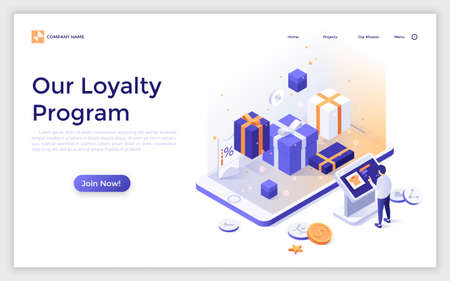 Landing page with gift boxes, giant smartphone and man making order at online store. Isometric vector illustration for advertisement, promotion of internet shop loyalty program for regular customers.