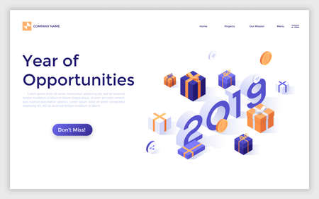 Landing page with 2019 number surrounded by gift boxes and dollar coins. Year of opportunities in internet retail, purchase discounts. Isometric vector illustration for advertisement, promotion.