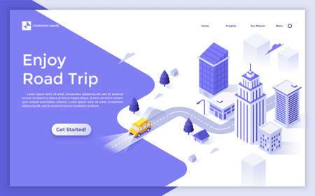 Landing page with modern city buildings, car riding along highway and place for text. Enjoy road trip or journey. Isometric vector illustration for automobile travel service website, advertisement.