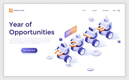 Landing page with robots carrying 2019 number. Year of opportunities in innovative technologies, artificial intelligence, automation of internet services. Creative isometric vector illustration.