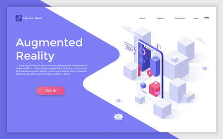Landing page with blocks seen through smartphone with augmented reality mobile application and place for text. Modern isometric vector illustration for app or service advertisement, promotion. Zdjęcie Seryjne
