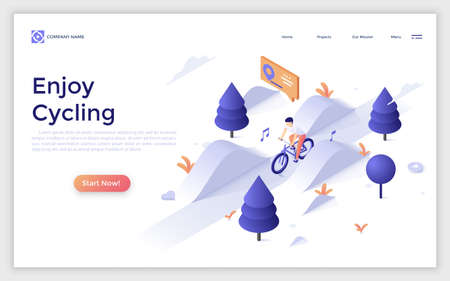 Website with man riding bicycle or bicyclist on bike taking part in downhill race. Enjoy cycling concept. Modern design template. Isometric vector illustration for sports competition advertisement.
