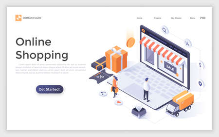 Landing page with people or buyers, giant laptop computer with store front on screen and place for text. Modern isometric vector illustration for online shopping advertisement, internet retail promo.