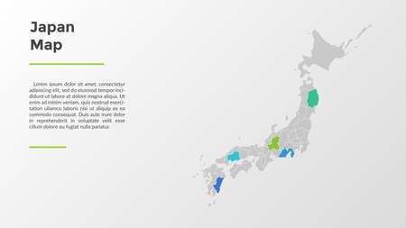 Japan map divided into provinces or regions with modern borders. Geographic location indication. Infographic design template. Vector illustration for presentation, brochure, touristic website.