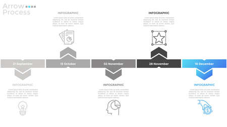 Horizontal timeline divided into 5 elements with date indication inside and arrows pointing at thin line symbols and text boxes. Infographic design layout. Vector illustration for strategic planning. Ilustracja