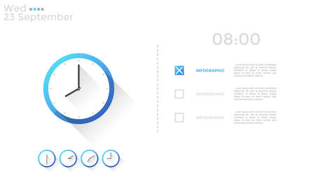 Analog clock face, time indication and check or to-do list with place for text. Concept of daily scheduling and planning. Creative infographic design template. Vector illustration for planner.