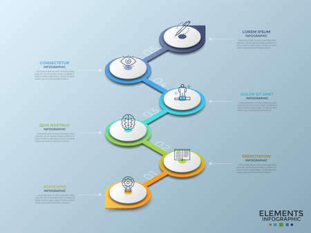 Six isometric circular white elements with linear icons connected by gradient colored vertical zigzag line. Concept of 6 steps of project development. Infographic design template. Vector illustration.