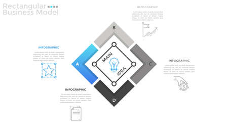 Square chart divided into 4 parts, linear pictograms and place for text. Concept of rectangular business model. Flat infographic design template. Vector illustration for presentation, pitch deck.