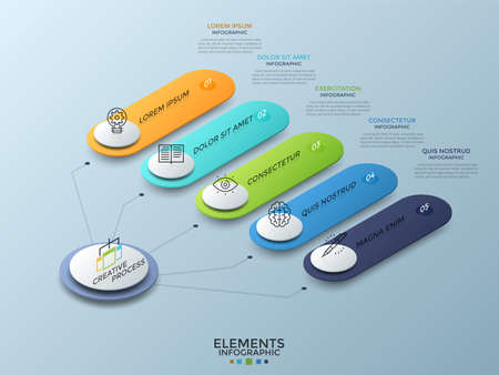 Isometric diagram with 5 colorful numbered rounded elements connected to main white circle. Concept of five options to choose. Realistic infographic design template. Vector illustration for brochure. Ilustrace