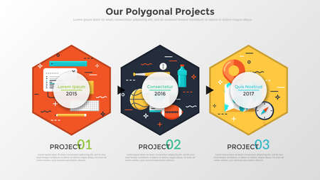 Three pictures inside hexagons placed into horizontal row, year indication and place for text. Concept of 3 examples of annual company working projects. Infographic design layout. Vector illustration.