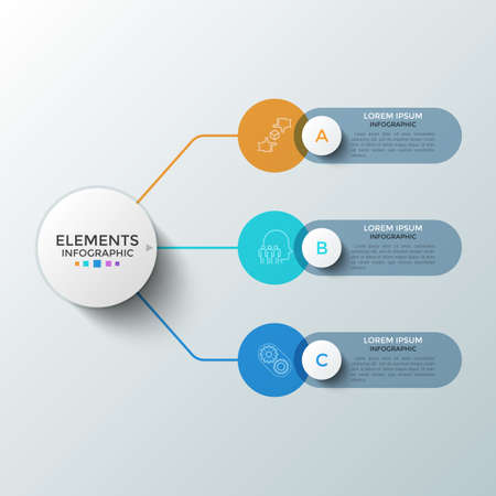 Three colorful round elements with linear symbols inside and text boxes connected to main circle. Concept of 3 successive steps of startup development. Infographic design template. Vector illustration Ilustracja