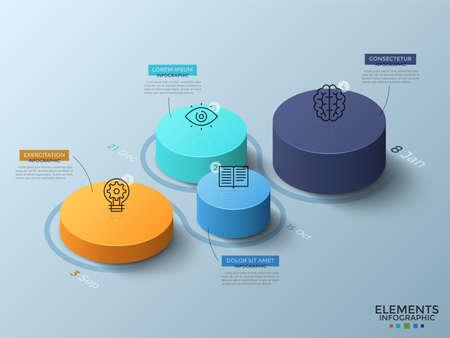 Izometryczny wykres z 4 kolorowymi cylindrycznymi elementami lub kolumnami, ikonami cienkiej linii, datami i miejscem na tekst. Koncepcja osi czasu z czterema krokami. Plansza projekt układu. Ilustracja wektorowa.
