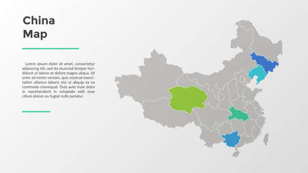 China map divided into provinces or regions with modern borders. Geographic location indication. Infographic design template. Vector illustration for presentation, brochure, touristic website. 일러스트