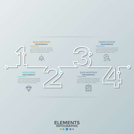 Horizontal timeline with outlines of numbers, thin line symbols and place for text. Concept of 4 successive steps of business development. Creative infographic design template. Vector illustration.