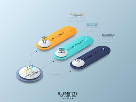 Isometric diagram with 3 colorful numbered rounded elements connected to main circle, thin line icons and place for text. Modern infographic design template. Vector illustration for presentation.