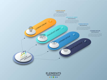 Isometric chart with 4 colorful numbered rounded elements connected to main white circle. Concept of four business characteristics. Creative infographic design template. Vector illustration. Çizim