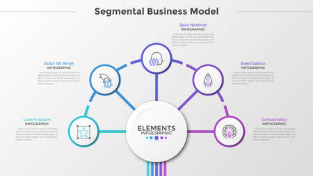 Five paper white round elements with thin line symbols inside surround main circle in center. Concept of segmental business model with 5 steps. Modern infographic design template. Vector illustration.