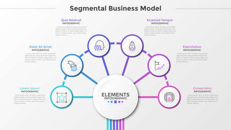 Six paper white round elements with thin line symbols inside surround main circle in center. Concept of segmental business model with 6 steps. Modern infographic design template. Vector illustration.