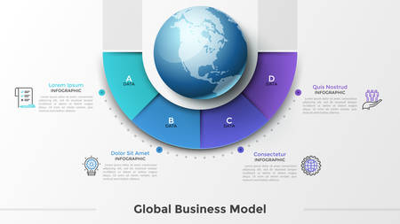 Globe or Earth planet surrounded by 4 sectoral elements, letters, linear symbols and text boxes. Concept of four features of international business. Infographic design template. Vector illustration.